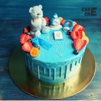 Голубой торт-метрика с медведем