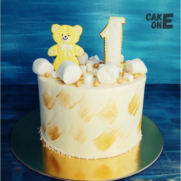 Торт на 1 год с золотым мишкой