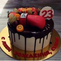 Торт на 23 года с боксерской перчаткой