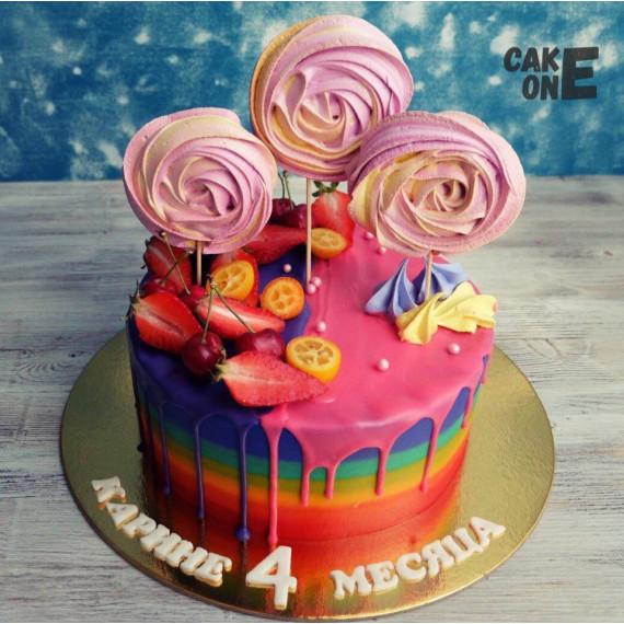 Торт-радуга с цветной глазурью