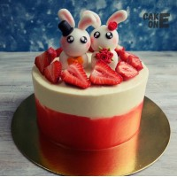 Торт белыми зайчиками