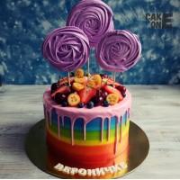 Торт-радуга с фиолетовым зефиром