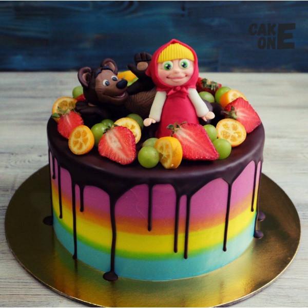 Торт-радуга с Машей и Медведем