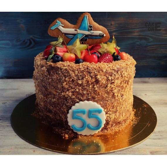 Торт на 55 лет с самолетом