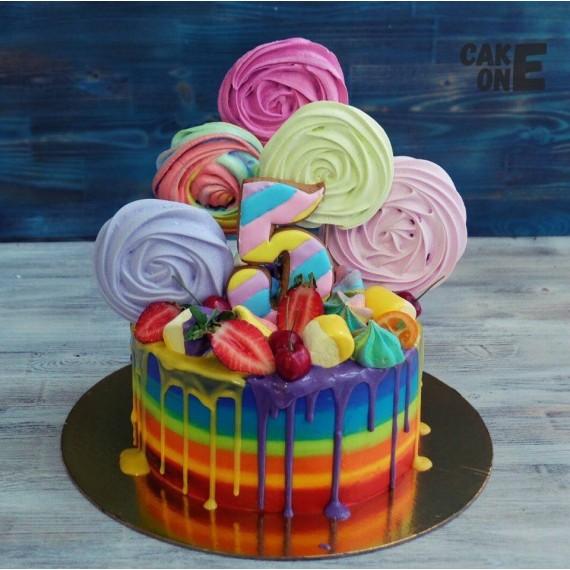 Торт-радуга с цветным зефиром