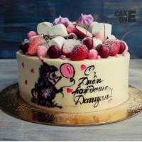 Торт с нарисованным ежиком
