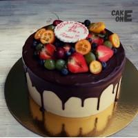 Торт с шоколадной глазурью на 14 лет