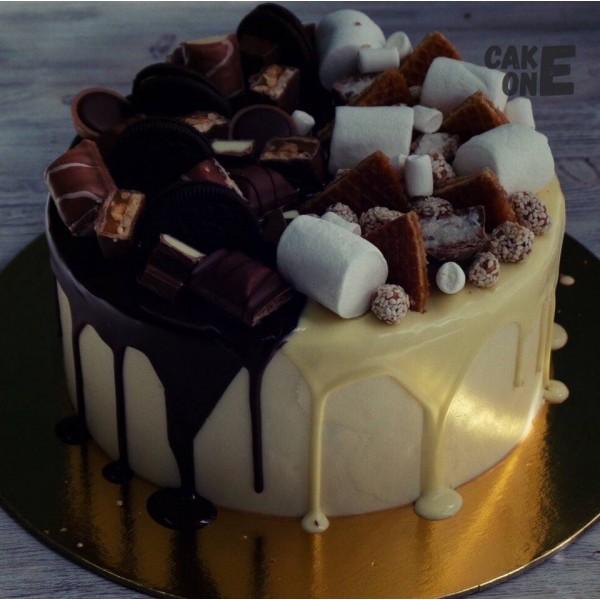 Торт с маршмеллоу и печеньем
