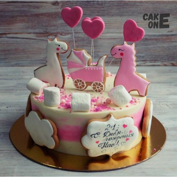 Торт с лошадками и коляской