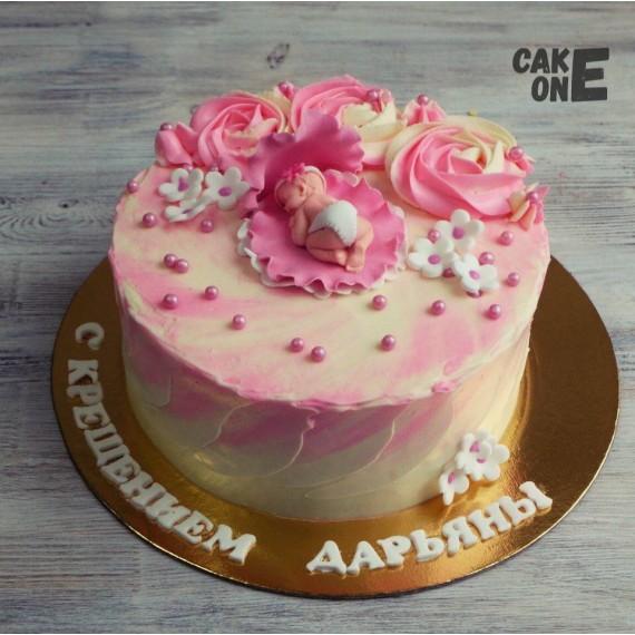 Торт с младенцем и розами