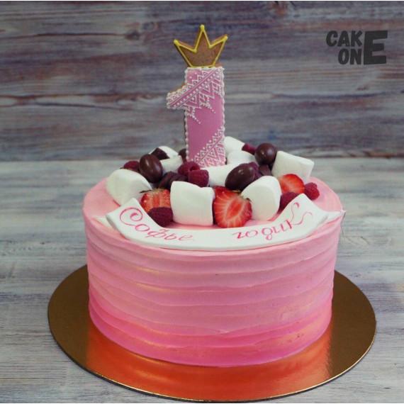 Розовый торт на 1 год