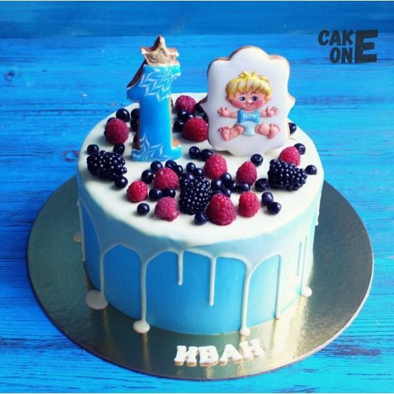 Торт с мальчиком на 1 год