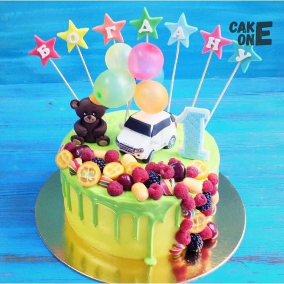 Торт с медведем, машинкой и воздушными шарами