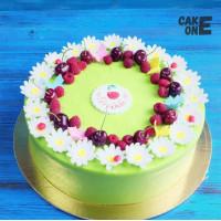 Зеленый торт с ромашками