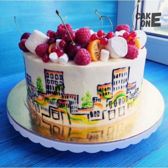 Торт с силуэтом города