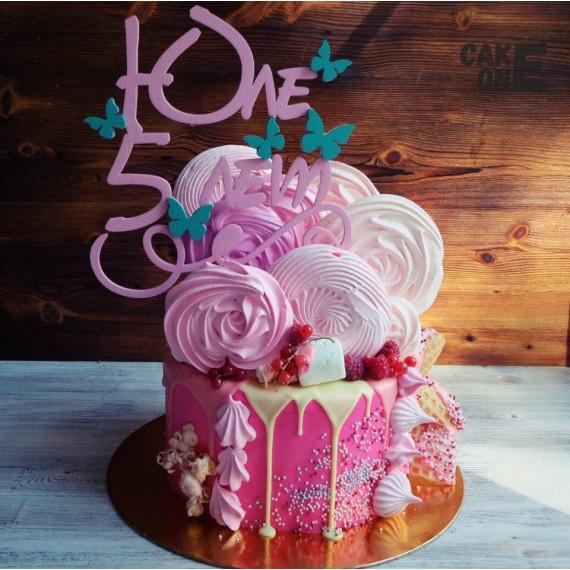 Розовый торт с розовым зефиром