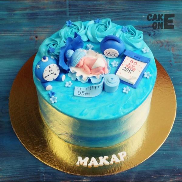 Торт-метрика с младенцем в голубой раковине