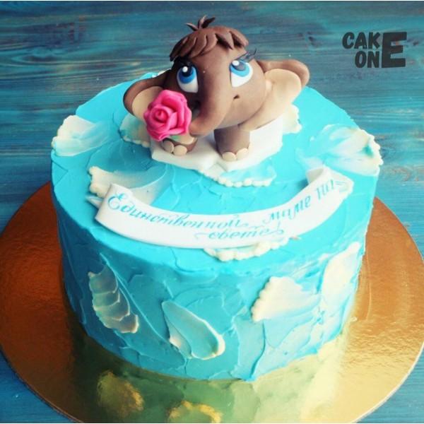 Голубой торт с мамонтенком