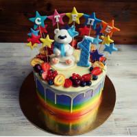 Торт-радуга на 1 год с медведем