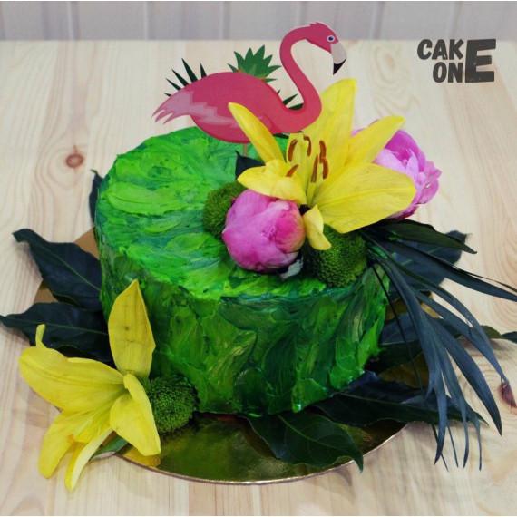 Зеленый торт с лилиями и фламинго