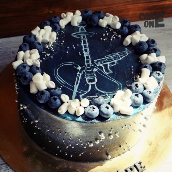 Черный торт с изображением кальяна