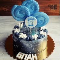 Черный торт с голубыым зефиром