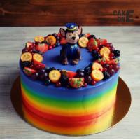 Торт-радуга с гонщиком Чейзом