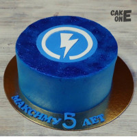 Синий торт с логотипом
