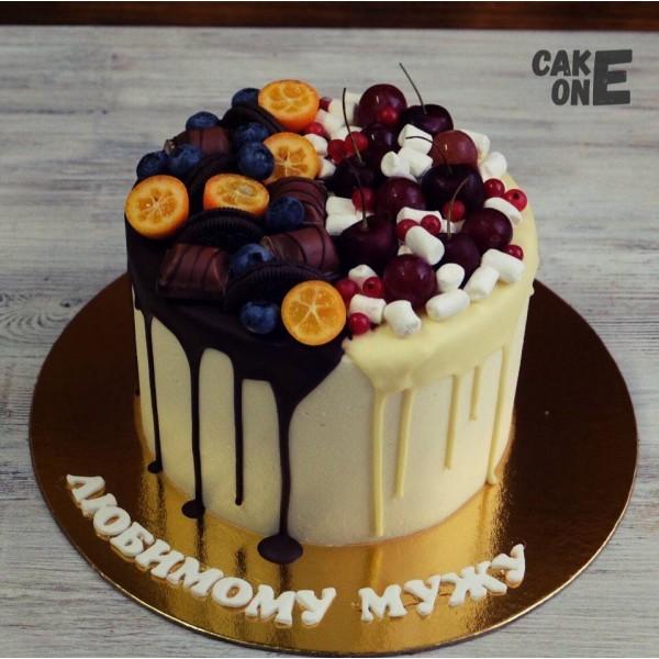 Торт с черешней и маршмеллоу