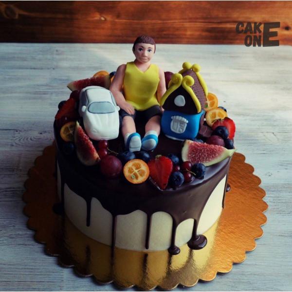 Торт с машиной, домиком и человеком