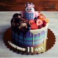 Торт с розовой совой