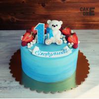 Голубой торт с белым мишкой