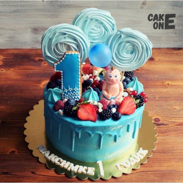 Голубой торт с малышом и голубым зефиром