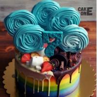 Торт-радуга с голубым зефиром