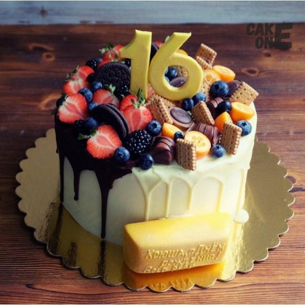 Торт на 16 лет с золотым слитком