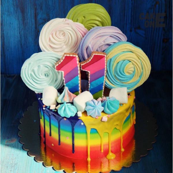 Торт-радуга с разноцветным зефиром на 11 лет