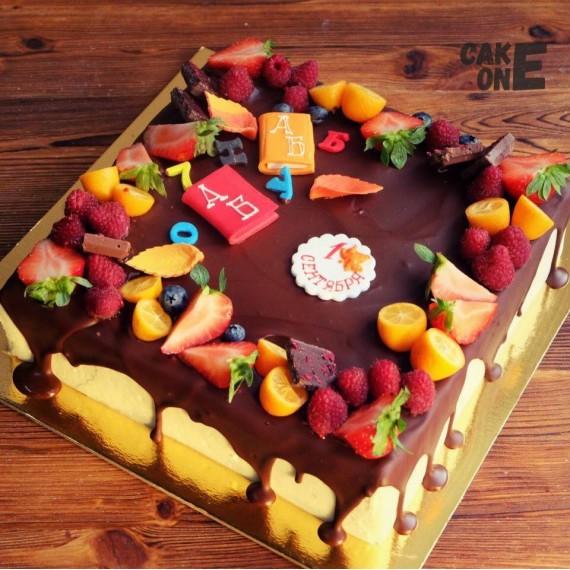 """Торт """"Букварь"""" с шоколадной глазурью"""