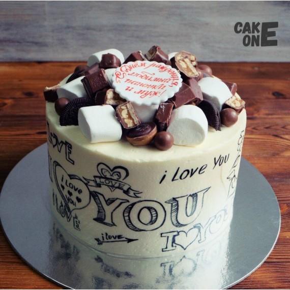 Торт с белой меловой доской
