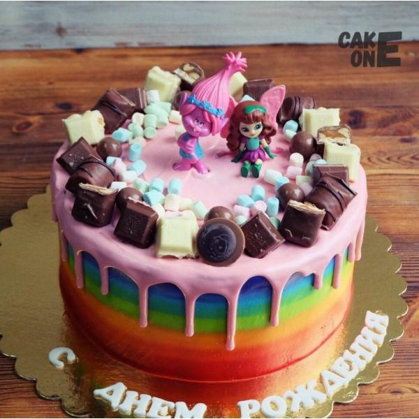 """Торт-радуга с героями """"Тролли"""""""