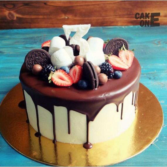 Торт с печеньем и маршмеллоу