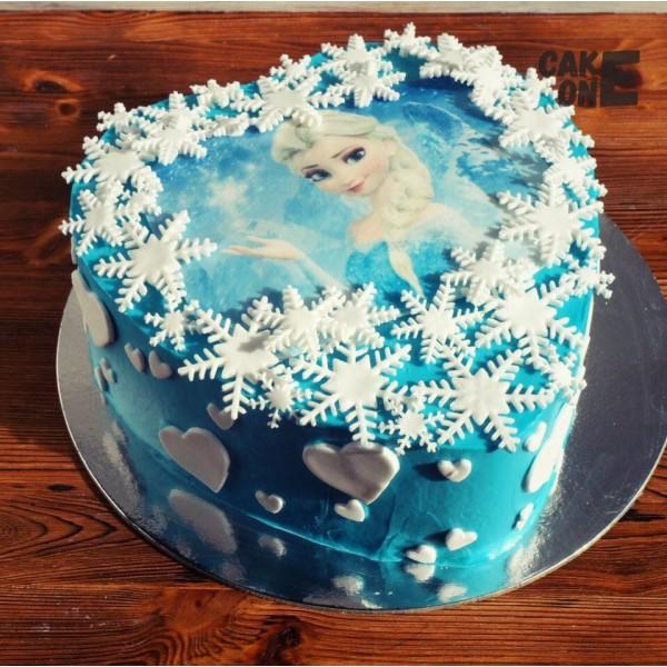 Фото-торт с Эльзой и снежинками