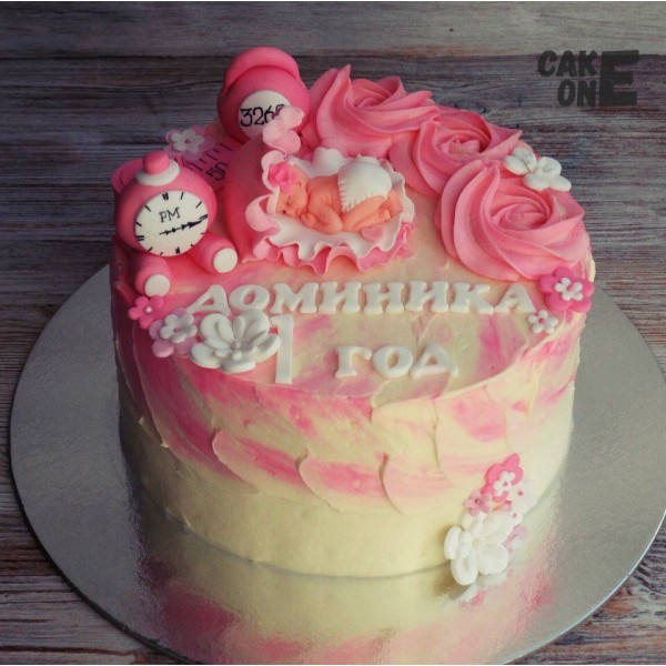 Розовый торт-метрика с младенцем
