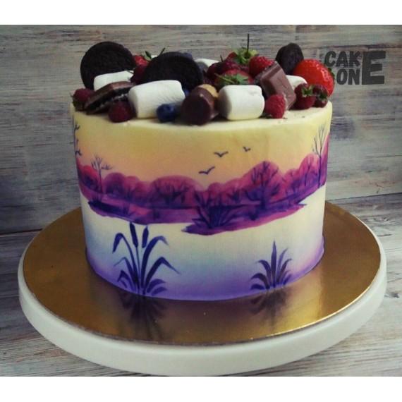Торт с изображением рыбалки