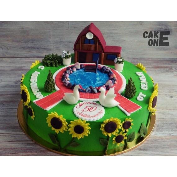 Торт с загородным домиком