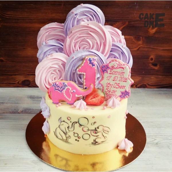 Торт с рисунком, слоником и зефиром