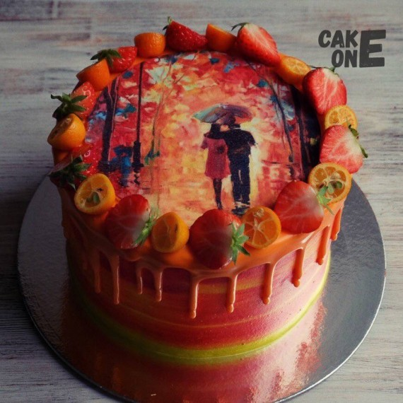 Фото-торт с осенним пейзажем